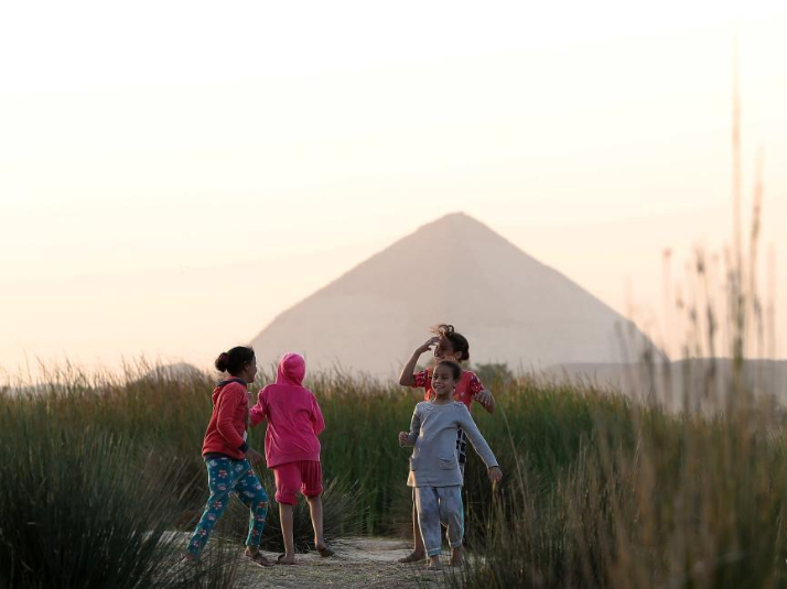 People's daily life near Bent Pyramid in Giza, Egypt