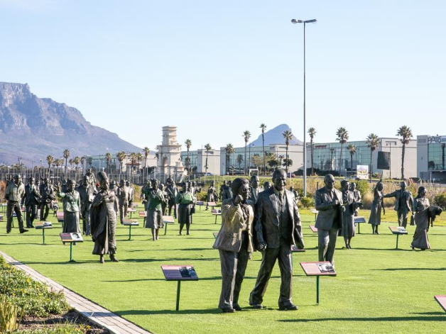 Bronze statues displayed at tourist spot The Long March to Freedom in Cape Town, South Africa