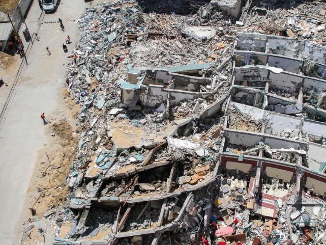 Jala Tower destroyed by Israeli air strike in Gaza City