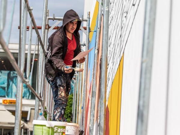 Street art festival VukovART held in Vukovar, Croatia