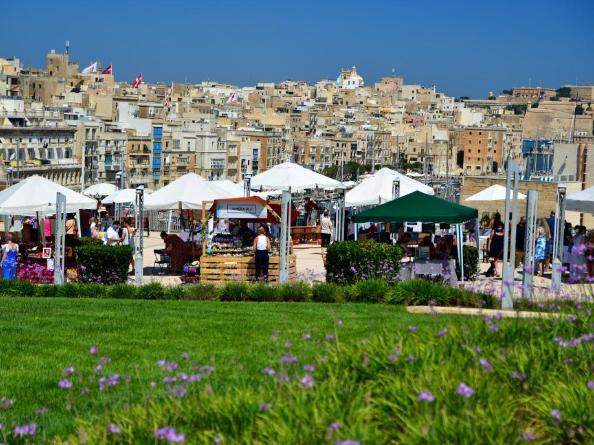 People visit artisan market in Vittoriosa, Malta