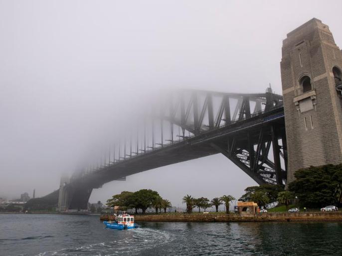 Heavy fog floats in Sydney