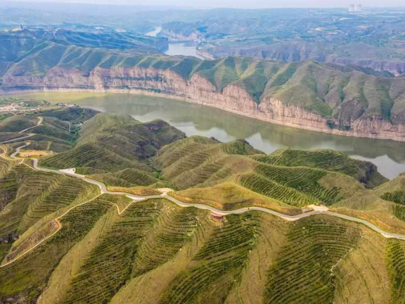 Canyon scenery of Yellow River in Jungar Banner, N China