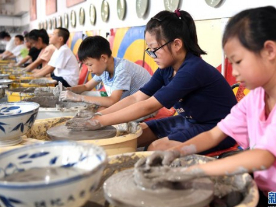 Village children study, dance and play in Northwest China fun palace