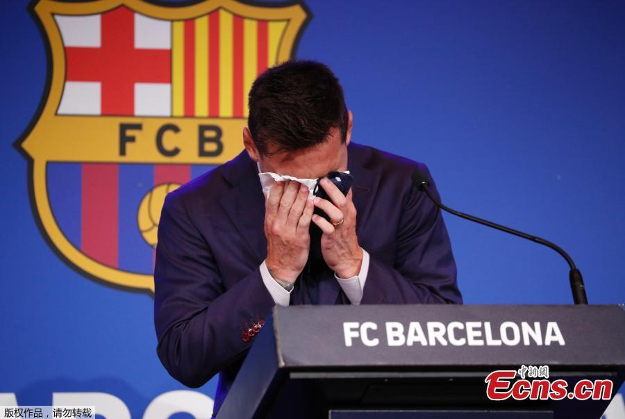Tearful Messi bids farewell to FC Barcelona at press conference