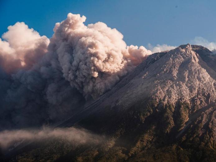 Indonesia's Mount Merapi spews volcanic materials