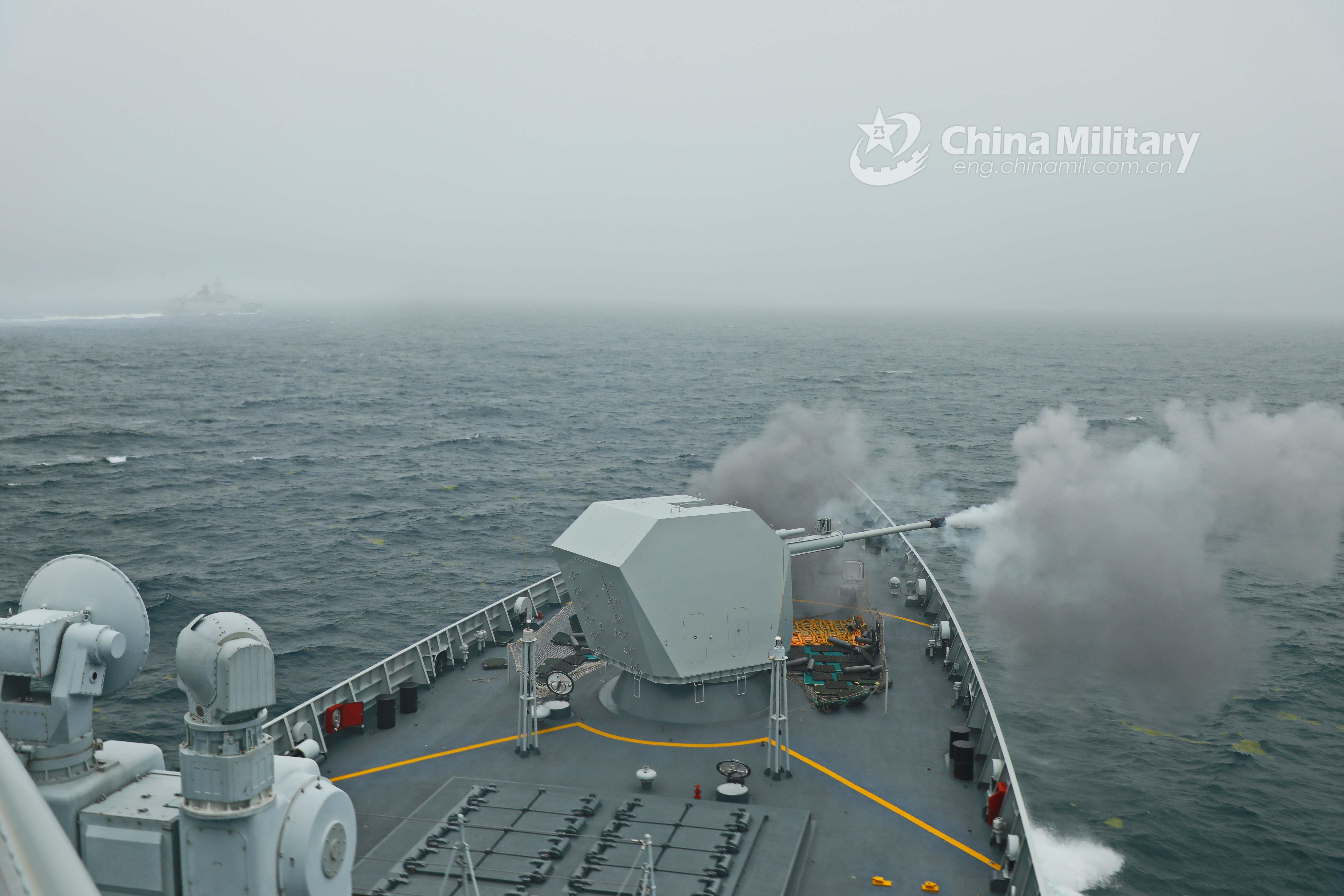 Frigate Yantai fires jamming bombs in Yellow Sea