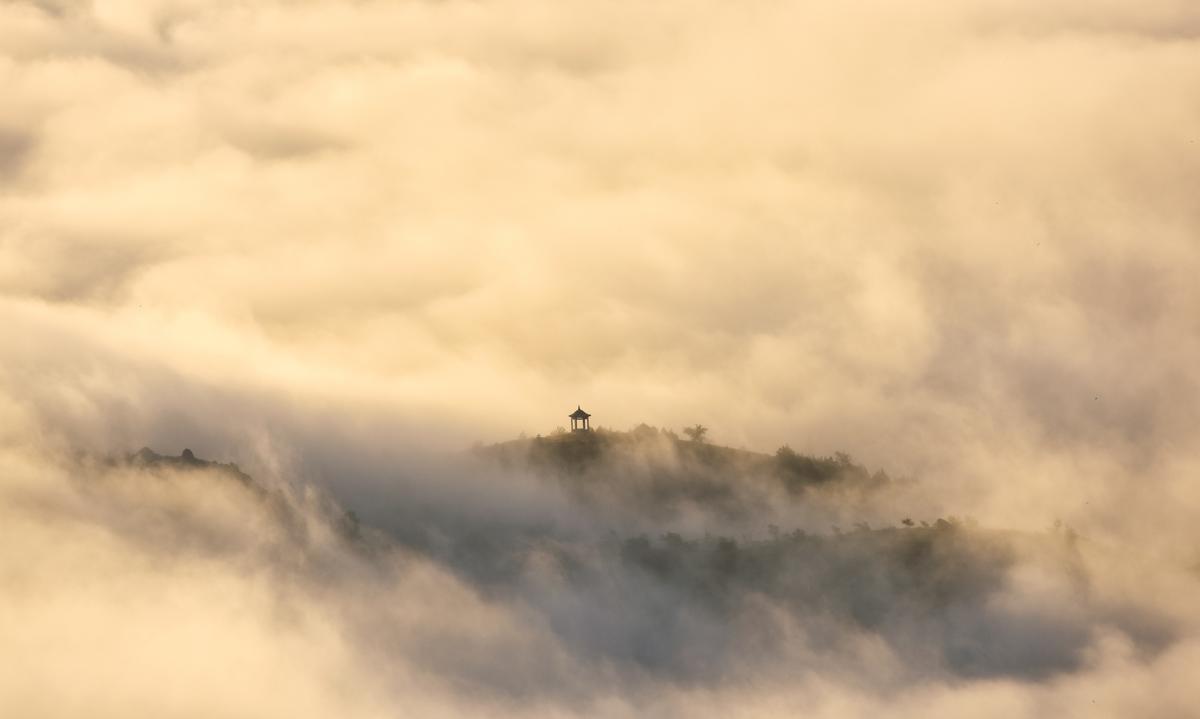 Fog envelops Inner Mongolia mountains