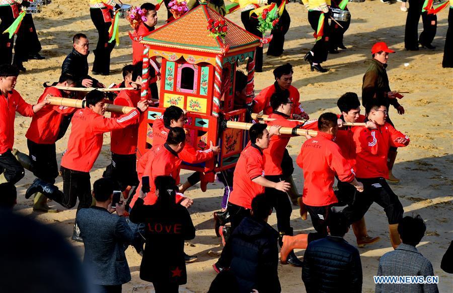 """Traditional custom """"Chonghai"""" of Nanri Island in SE China's Fujian"""