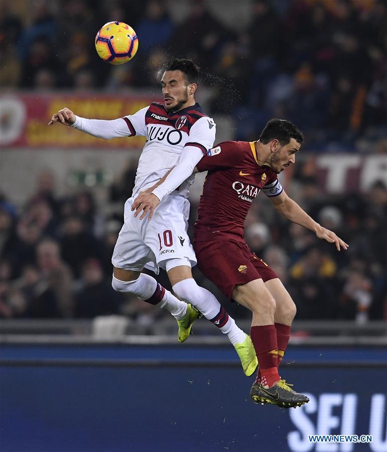 AS Rome beats Bologna 2-1 at Serie A soccer match
