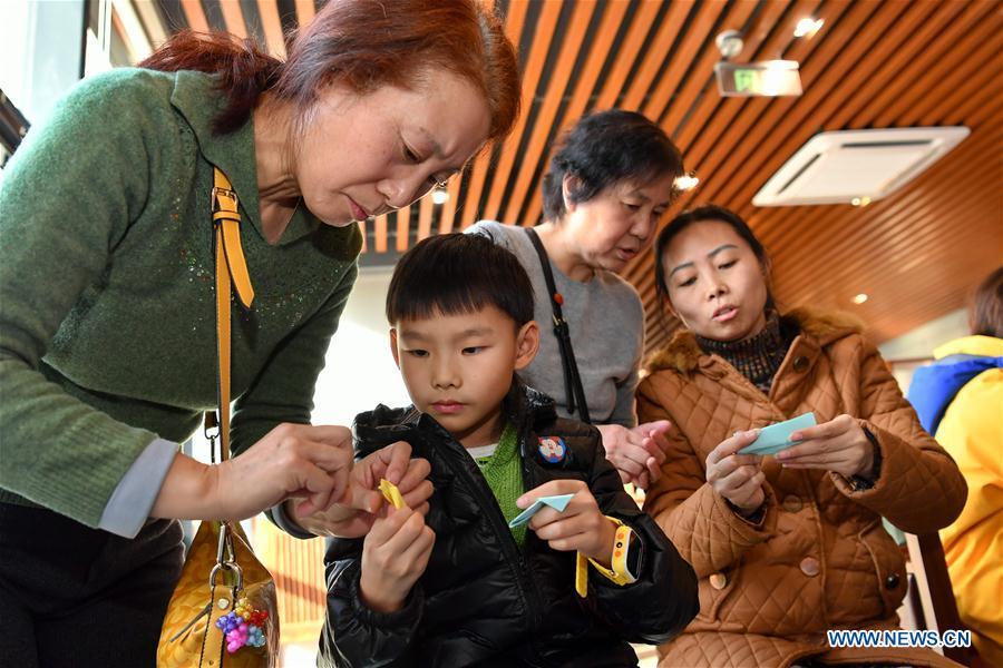 Origami event held at Taiyuan Library in Taiyuan, N China's Shanxi