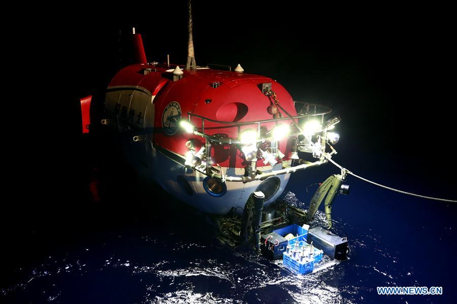 China's manned submersible conducts night dive in South China Sea