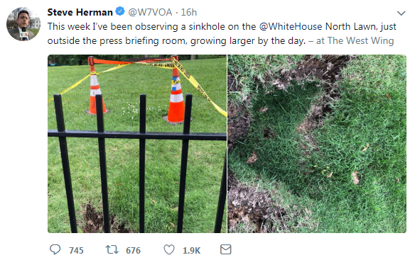 Internet cracks up over reports of White House sinkhole