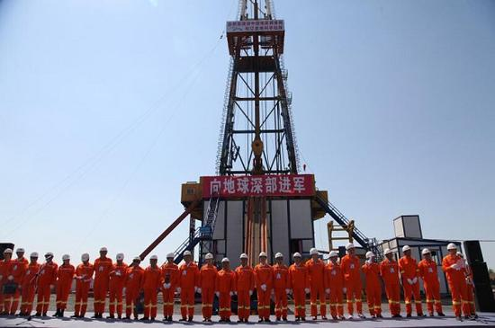 China completed the drilling of deepest well in Asia and the first one in the world that goes through continental stratum of the cretaceous period on March 26, 2018. (Photo by Gu Landing/for chinadaily.com.cn)