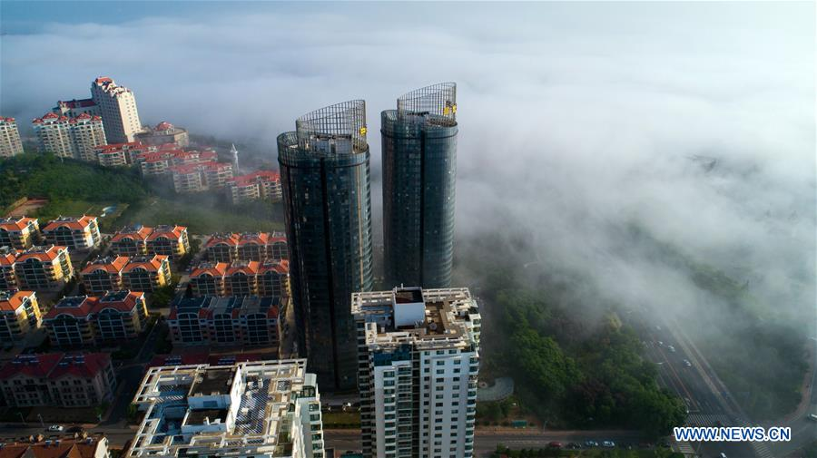 View of advection fog above Yantai, east China