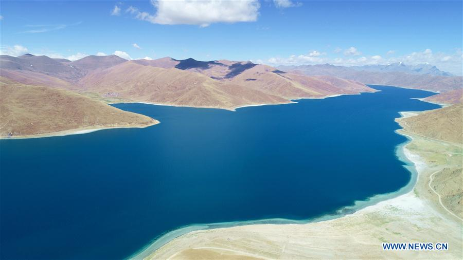 Aerial view of Yamdrok Lake in China's Tibet