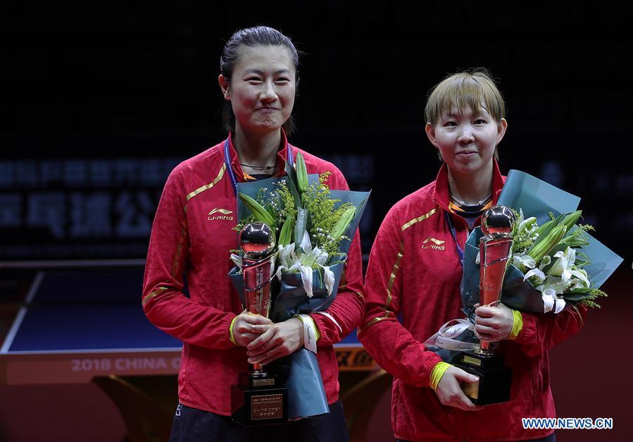 Ding Ning, Zhu Yuling win women's doubles final at 2018 ITTF World tour China Open