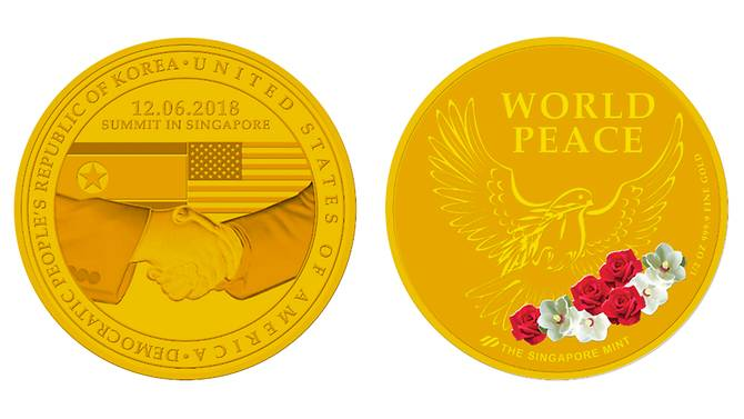 Commemorative Singapore coins mark Trump-Kim summit