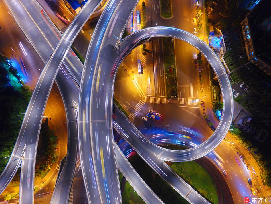 Night view of overpass looks like silk fabrics