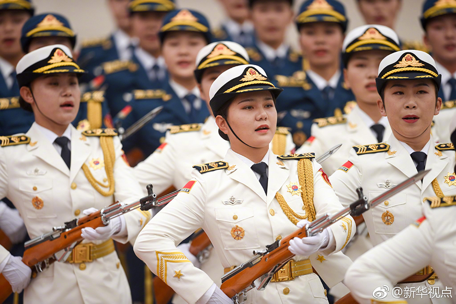 PLA female honor guard formation makes debut in welcome ceremony