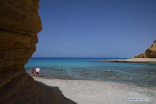 Scenery of Cleopatra's Rock in coast city of Marsa Matrouh, Egypt