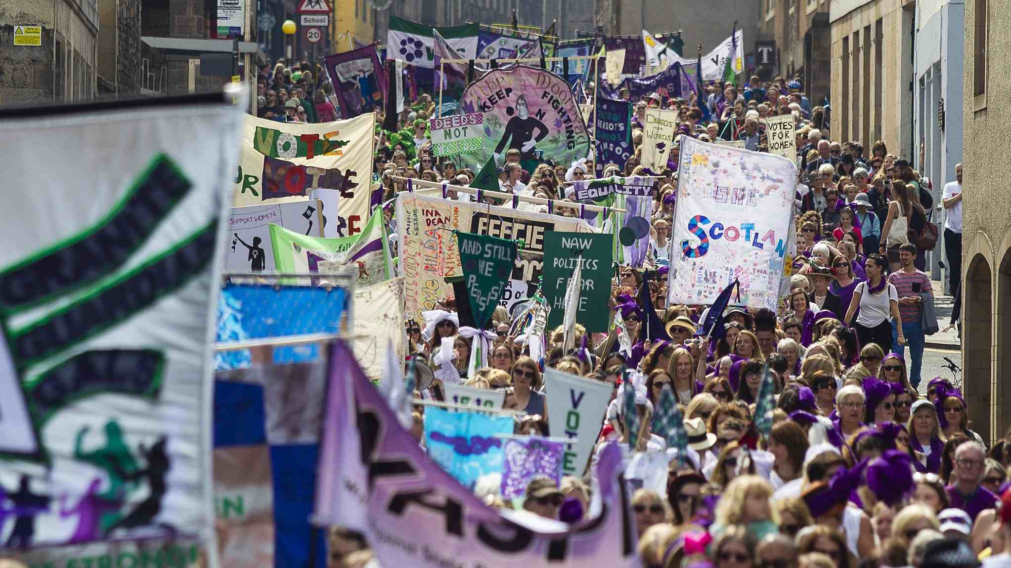 Green, white and violet: UK celebrates 100 years of women's suffrage