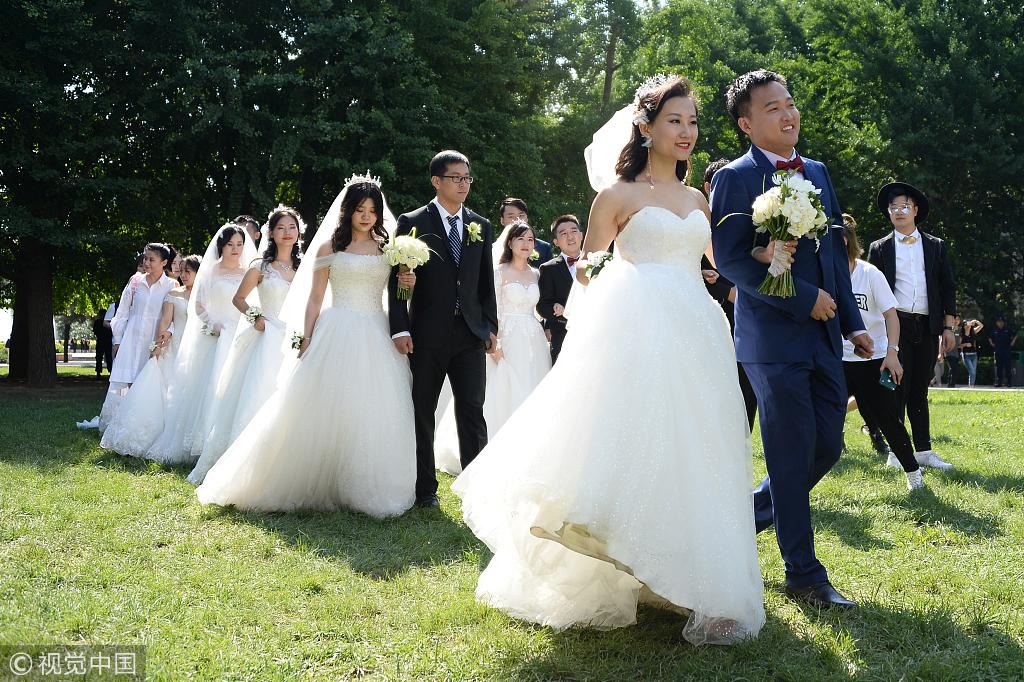 Campus wedding before graduation