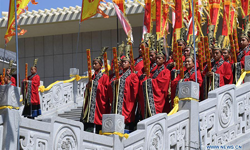 Ancestor worship grand ceremony in honor of Emperor Yao held in N China