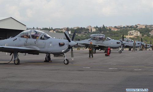 Four A-29 Super Tucano aircrafts received from US seen in Lebanon
