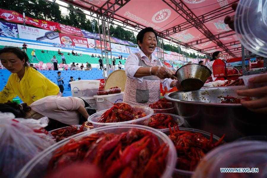 Massive crayfish banquet held in Xuyi, east China's Jiangsu