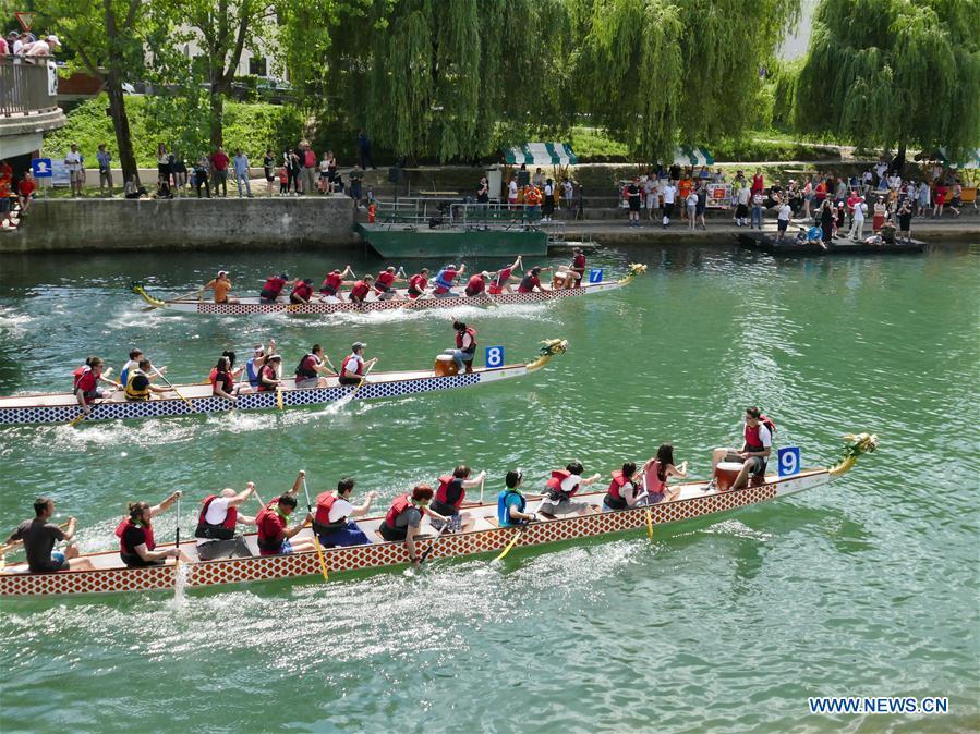 Dragon boat race held on Ljubljanica River in Slovenia