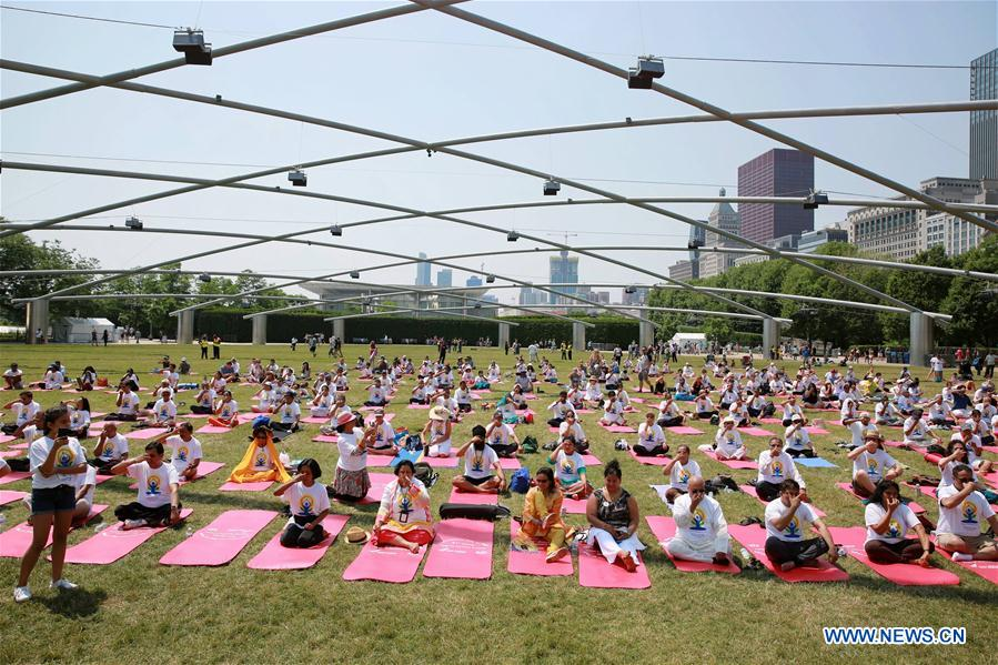 People celebrate 2018 International Day of Yoga in Chicago, U.S.