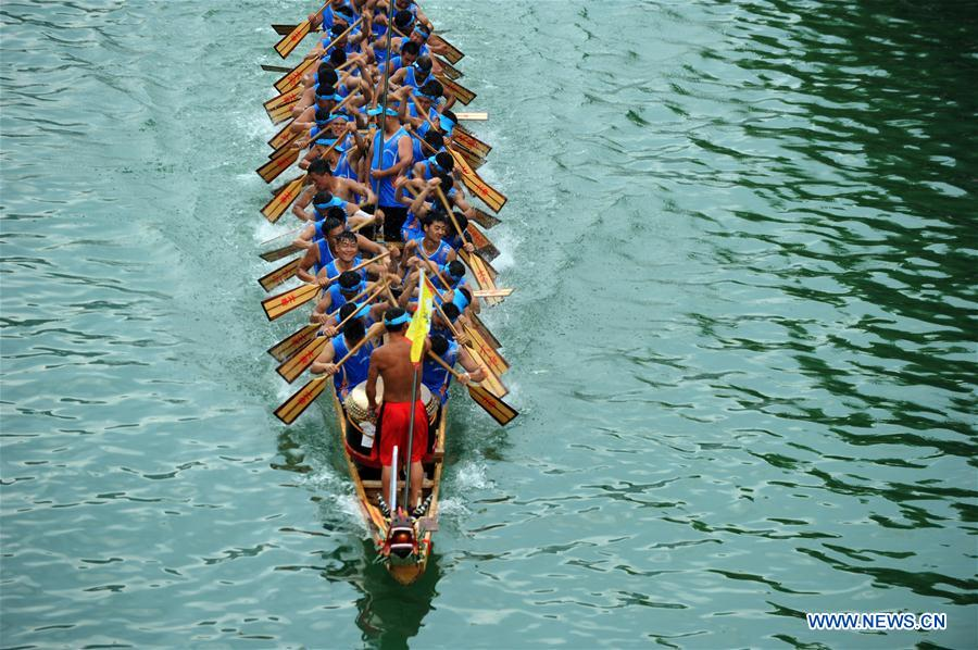 Training for dragon boat race held on Wuyang River in SW China