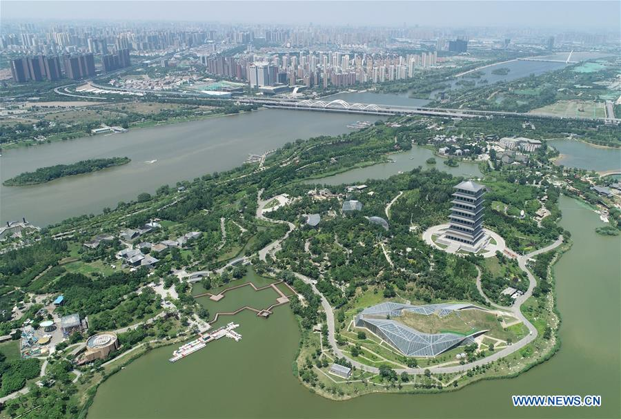 Aerial view of Chanba Ecological District in Xi'an