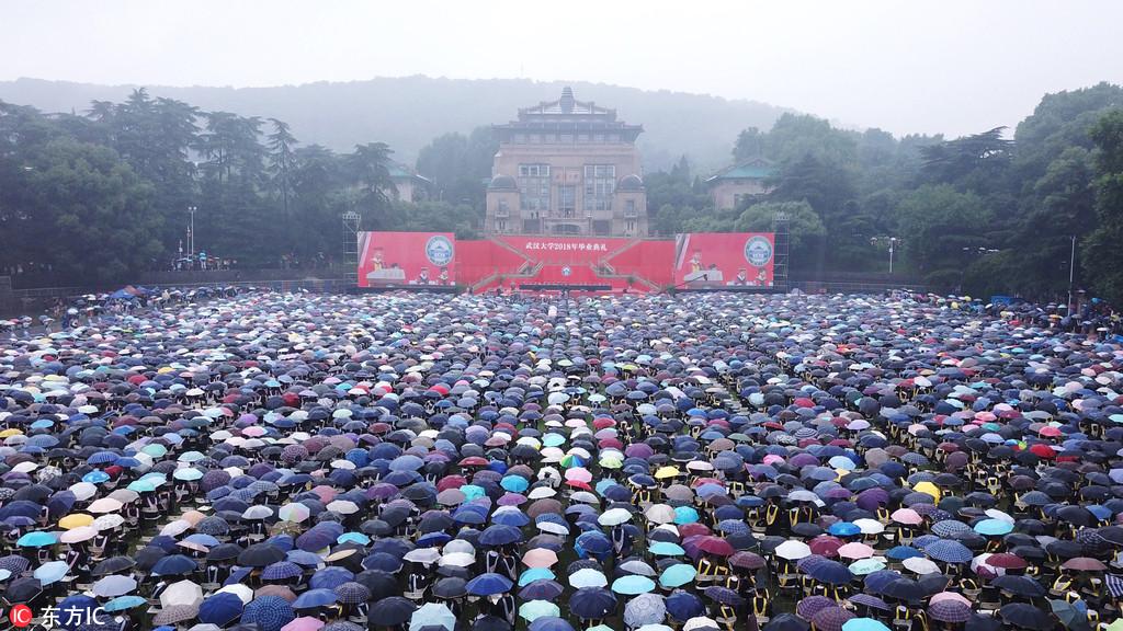 Graduation ceremony in rain
