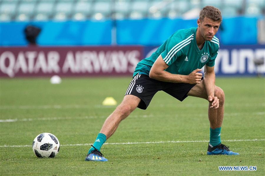 Players of Germany attend training session during World Cup