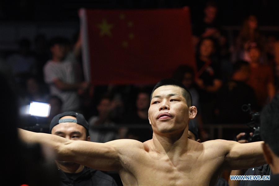China's fighter Li Jingliang defeats Daichi Abe of Japan at UFC Fight Night