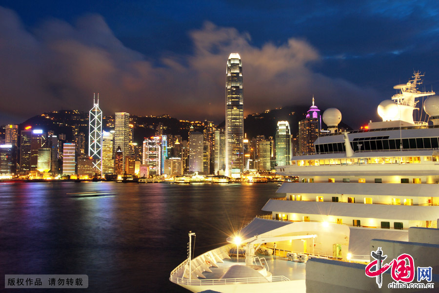 Amazing night view in Victoria Bay, Hong Kong