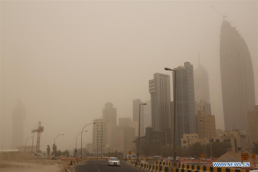 Buildings shrouded by sandstorm in Kuwait