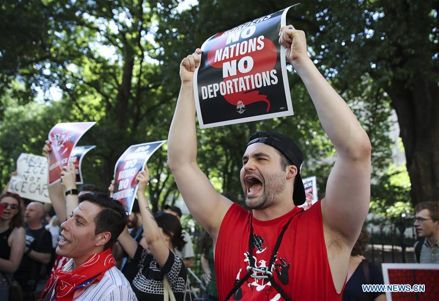 """Hundreds of people take part in """"March to Abolish ICE"""" protest in New York"""