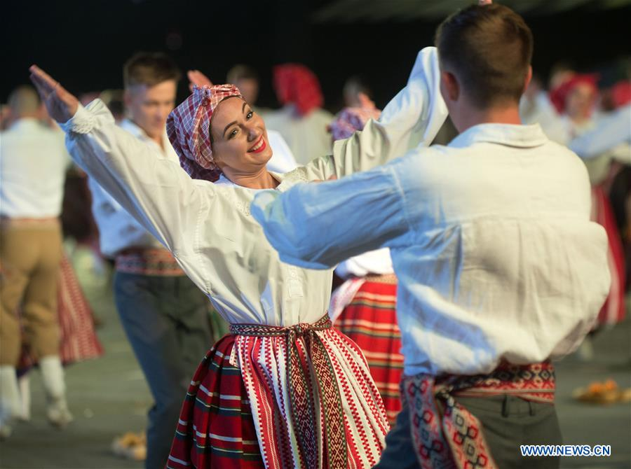 People perform during 2018 Song Festival in Vilnius, Lithuania