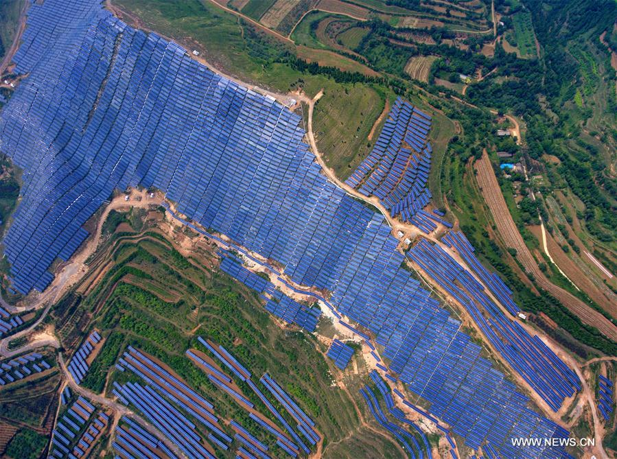 Ruicheng County utilizes solar energy by building PV power plants on mountains