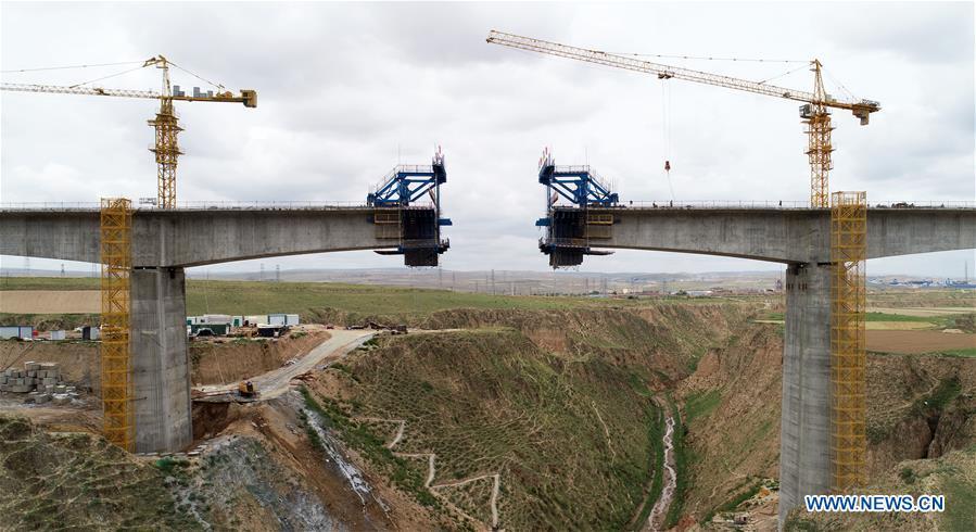 Yinchuan-Xi'an high-speed railway under construction