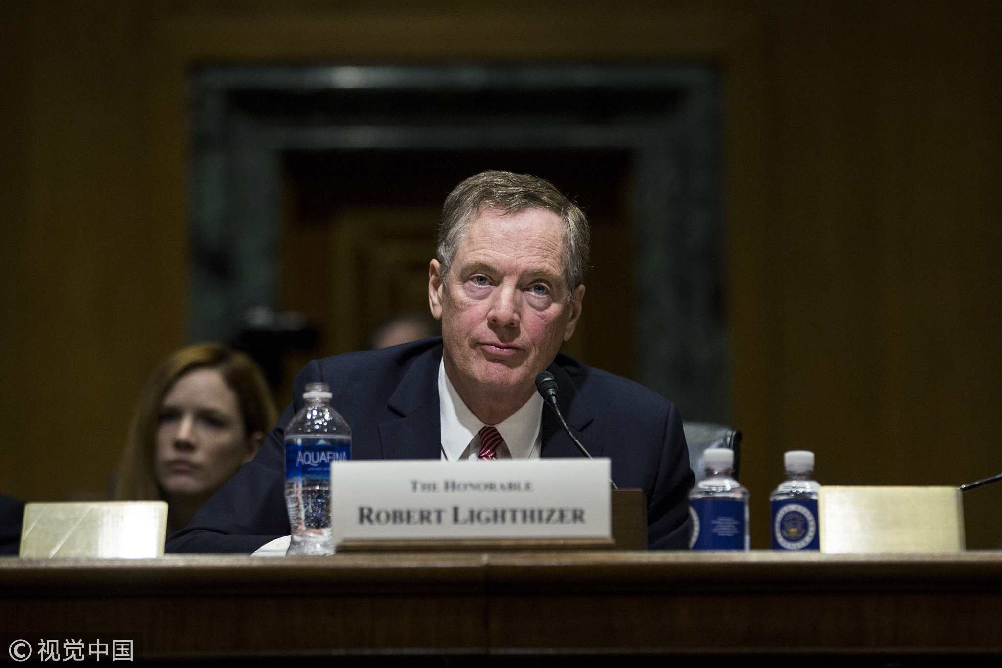 Robert Lighthizer, the US trade representative nominee for President Donald Trump, listens during a Senate Finance Committee confirmation hearing in Washington, D.C., US on Tuesday, March 14, 2017. [Photo: VCG]
