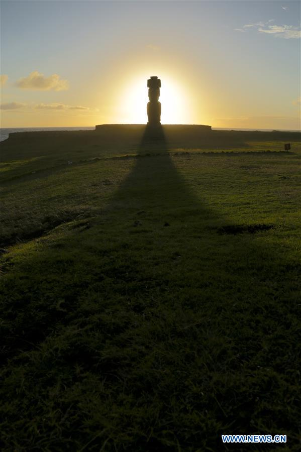 Scenery of sunset in Easter island of Chile