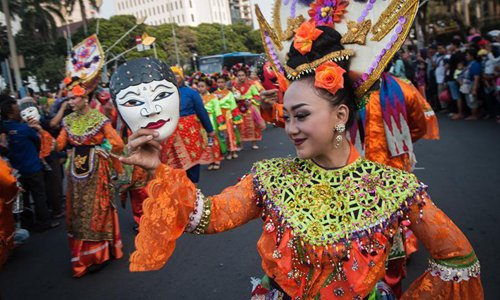Culture parade of Jakarta Carnival held in Indonesia