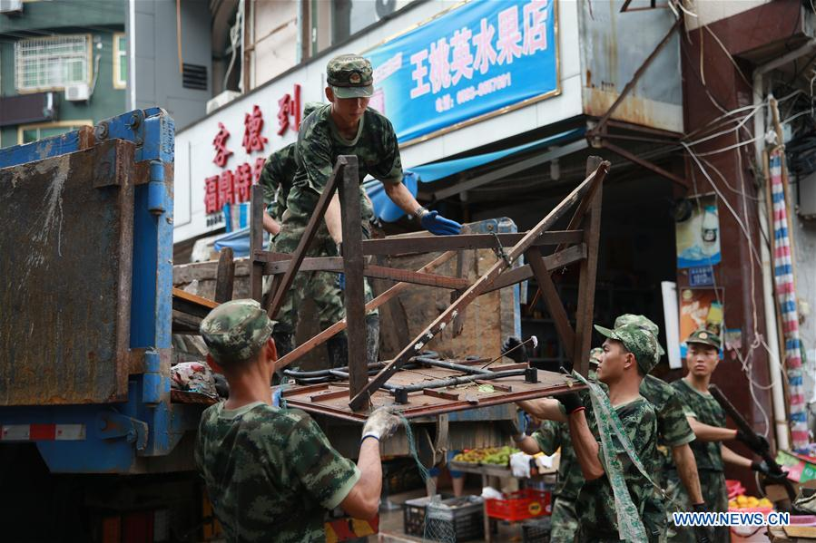 In pics: Soldiers provide disaster relief to SE China's typhoon-affected Fujian Province
