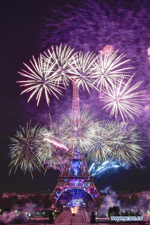 Fireworks displayed to mark Bastille Day in Paris