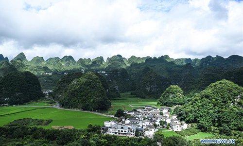 Scenery of karst hills in Wanfenglin scenic area, SW China's Guizhou