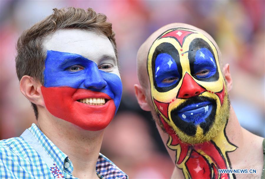 Fans in high spirits prior to World Cup final match in Moscow